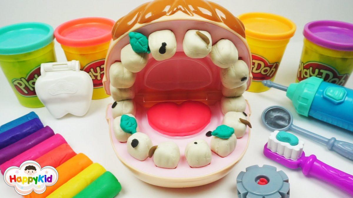เล่นแป้งโดว์หมอฟัน | ฟันปลอมสีรุ้ง | วิธีแปรงฟันไม่ให้มีแมงกินฟัน | Play-Doh Doctor Drill 'N Fill