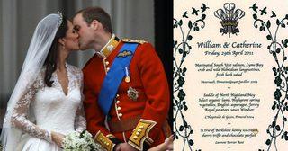 เปิดประมูลการ์ดหรู จากงานอภิเษกสมรสเจ้าชายวิลเลียมและเจ้าหญิงเคท