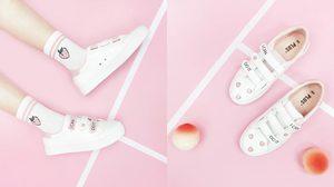รองเท้าผ้าใบ SPAO ออกคอลเลคชั่นใหม่ ลายลูกพีชสีชมพูหวานน่ารัก!
