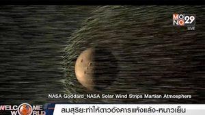 นาซา ชี้ ลมสุริยะ ต้นเหตุทำดาวอังคารแห้งแล้ง
