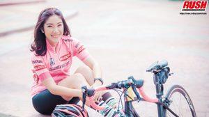 คุณอุ๋ม สาวหน้าใสกับชุดปั่นจักรยานสีชมพูสุดหวานแหวว