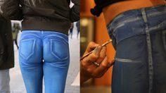 ศิลปินชาวอังกฤษ เพ้นท์ท่อนล่างนางแบบสาวให้ดูคล้ายกางเกงยีนส์