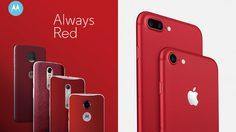 ไม่มียอมกัน Motorola โพสต์ภาพบอกว่า iPhone ไม่ใช่เครื่องแรกที่มาสีแดง