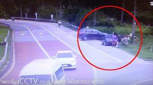 คลิปอุบัติเหตุสยอง รถแหกโค้ง 2 ครั้งซ้อนซ้ำจุดเดิมที่ภูเก็ต