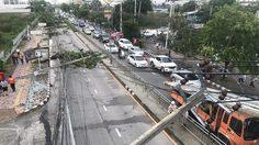 เสาไฟฟ้าล้มกว่า 20 ต้น! ริมถนนสนามบินน้ำ จ.นนทบุรี
