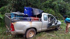 รถทัวร์ชนสุนัขตาย ท่อน้ำมันแตกหกราดถนน รถตามหลังลื่น เจ็บระนาว