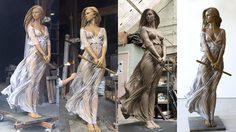 สาบานว่าคือรูปปั้น ศิลปินปั้นหุ่นสมจริง ลายละเอียดเป๊ะเหมือนผู้หญิงจริงๆ