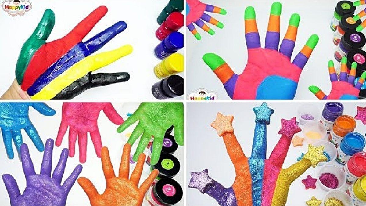 รวม 4 วีดีโอระบายสีมือ | เรียนรู้สี 2 ภาษา | Learn Colors With Hand Painting