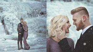 ครั้งหนึ่งในชีวิต! คู่รักจูงมือถ่ายพรีเวดดิ้ง ท่ามกลางน้ำตก ที่กลายเป็นธารน้ำแข็ง สุดโรแมนติก