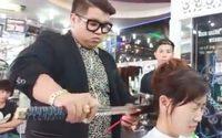 ดาบซามูไรตัดผม ช่างชาวเวียดนามสุดเจ๋ง ตัดไปก็เสียวไป!!!