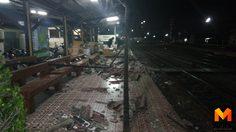 รถไฟบรรทุกโครงเหล็กเฉี่ยวชนหลังคาสถานีรถไฟอยุธยาเจ็บ 2