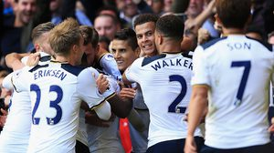 LONDON, ENGLAND - OCTOBER 02: Dele Alli of Tottenham Hotspur celebrates scoring his sides second goal with his team mates during the Premier League match between Tottenham Hotspur and Manchester City at White Hart Lane on October 2, 2016 in London, England.  (Photo by Tottenham Hotspur FC/Tottenham Hotspur FC via Getty Images)
