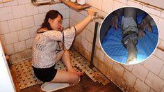 ท่ายากอีกแล้ว!! สาวจีนดื่มหนักไปหน่อย เผอลื่นจนขาเข้าไปติดอยู่ใน โถส้วม