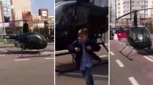 OMG! คุณพ่อตัดสินใจขับเฮลิคอปเตอร์ส่งลูกชายไปโรงเรียน เหตุเพราะกลัวสาย