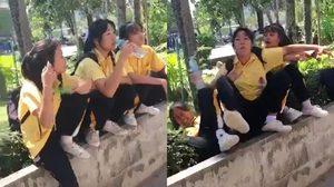 ฮาลั่น! นักเรียนมัธยมถ่ายคลิปสโลว์ วินาทีเพื่อนหงายหลังสภาพนี้