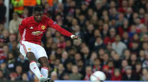MANCHESTER, ENGLAND - OCTOBER 20:  Paul Pogba of Manchester United has a shot on goal during the UEFA Europa League match between Manchester United FC and Fenerbahce SK at Old Trafford on October 20, 2016 in Manchester, England.  (Photo by Matthew Peters/Man Utd via Getty Images)