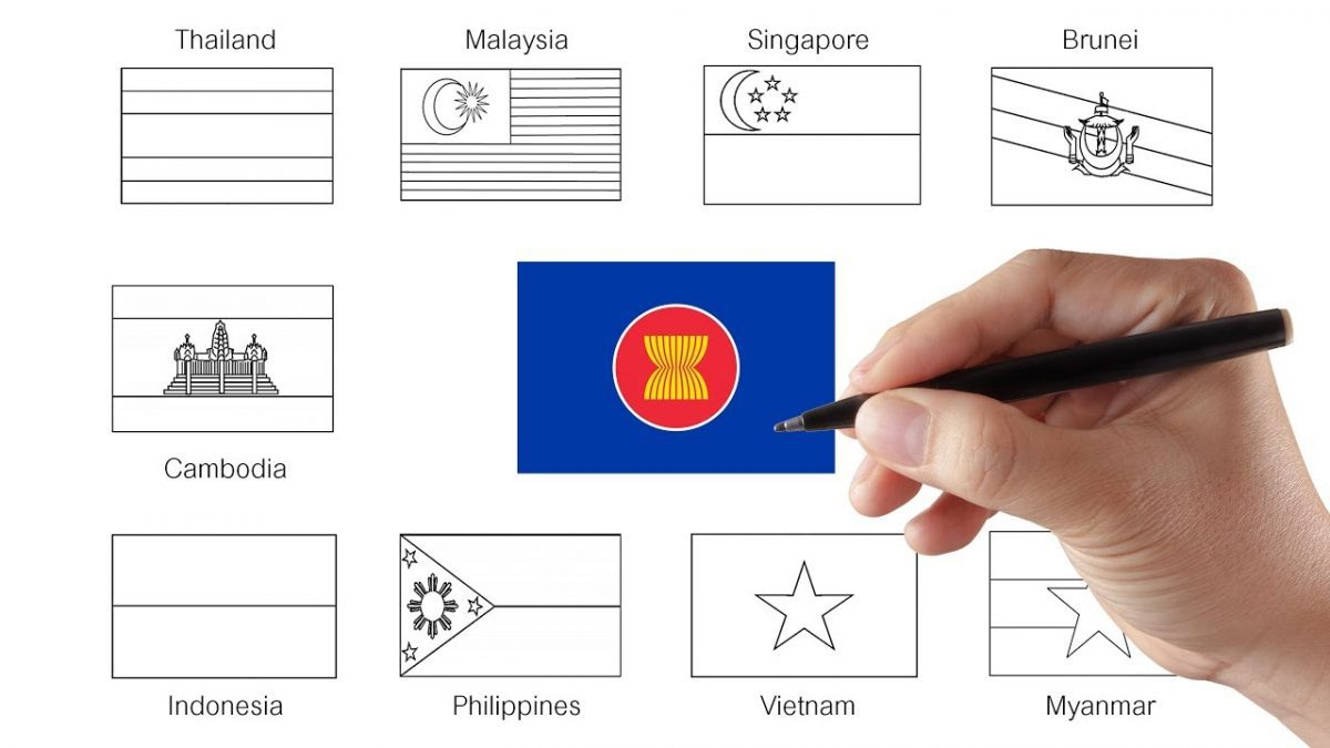 ระบายสีธงชาติอาเซียน | เรียนรู้อาเซียน | ASEAN Flags Coloring