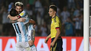 SAN JUAN, ARGENTINA - NOVEMBER 15:  Angel Di Maria of Argentina celebrates with teammate Lionel Messi after scoring the third goal of his team during a match between Argentina and Colombia as part of FIFA 2018 World Cup Qualifiers at Bicentenario de San Juan Stadium on November 15, 2016 in San Juan, Argentina. (Photo by Daniel Jayo/LatinContent/Getty Images)