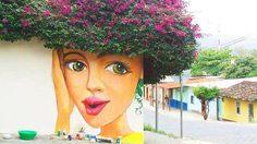 มันอาร์ตมาก! ไอเดียใช้ต้นไม้เป็นเส้นผม วาดภาพศิลปะบนกำแพง