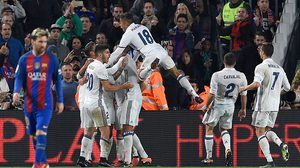 Real Madrid players celebrate a goal during the Spanish league football match FC Barcelona vs Real Madrid CF at the Camp Nou stadium in Barcelona on December 3, 2016. / AFP / LLUIS GENE        (Photo credit should read LLUIS GENE/AFP/Getty Images)