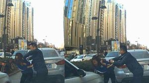 หัวร้อนจัง!! สาวจีนโดนชกหน้าไปหลายหมัด หลัง บีบแตร ไล่ผู้ชายที่เดินบนทางเท้า