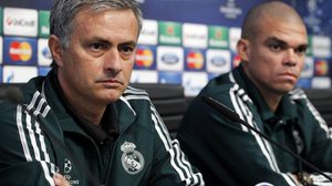 MANCHESTER, ENGLAND - NOVEMBER 20:  Coach Jose Mourinho (L) and Pepe of Real Madrid attend a press conference ahead of their UEFA Champions League group stage match against Manchester City at Etihad Stadium on November 20, 2012 in Manchester, England.  (Photo by Helios de la Rubia/Real Madrid via Getty Images)