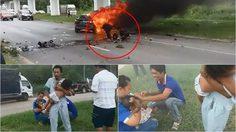 ฮีโร่! บุกช่วยพ่อแม่ลูกรอดจากการถูกไฟคลอก หลังรถเกิดเพลิงไหม้