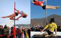 ร้อนแรง! ท้าความหนาว สาวจีนรูดเสา โชว์กลางหิมะติดลบ 33 องศา