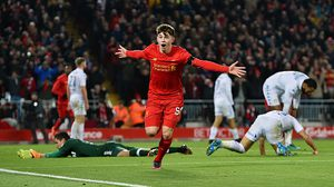 LIVERPOOL, ENGLAND - NOVEMBER 29:  (THE SUN OUT, THE SUN ON SUNDAY OUT) Ben Woodburn of Liverpool celebrates scoring the second goal, making him the youngest goalscorer in Liverpool history during the EFL Cup Quarter-Final match between Liverpool and Leeds United at Anfield on November 29, 2016 in Liverpool, England.  (Photo by Andrew Powell/Liverpool FC via Getty Images)