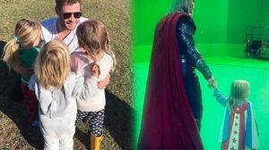 คริส เฮมส์เวิร์ธ จูงเจ้าตัวน้อยใส่ชุดสุดเท่เข้าฉากกรีนสกรีน ในกองถ่าย Thor: Ragnarok