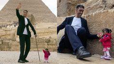 ผู้ชายที่สูงที่สุดบนโลก และ ผู้หญิงที่ตัวเล็กที่สุดบนโลก มาเจอกัน โอ้โห คนละไซส์เลย