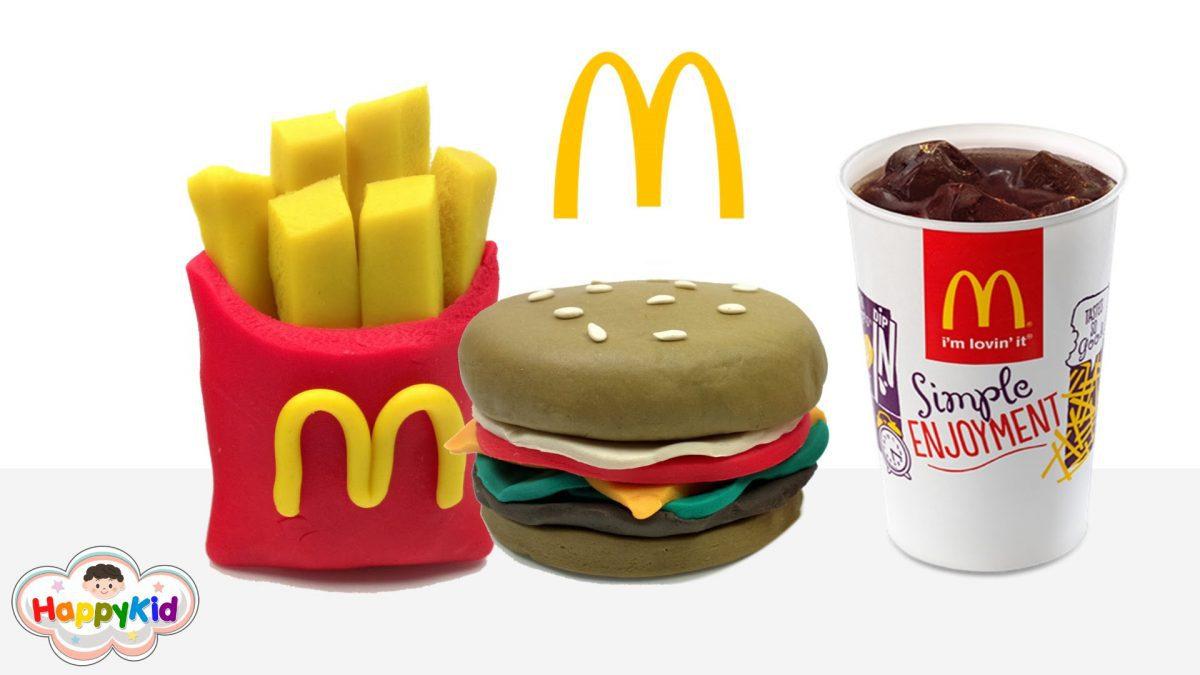 แป้งโดว์แฮมเบอร์เกอร์และเฟรนช์ฟรายส์แมค | Hamburger And Frence Fries Play Doh