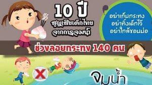เตือน อุบัติภัย วันลอยกระทง 10ปีเสียเด็กไทย 140 คนเพราะจมน้ำ