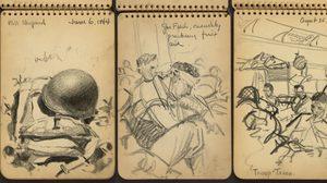 ภาพสเก็ตช์จากสมรภูมิสงครามโลกครั้งที่ 2 โดยทหารหนุ่ม Victor Lundy