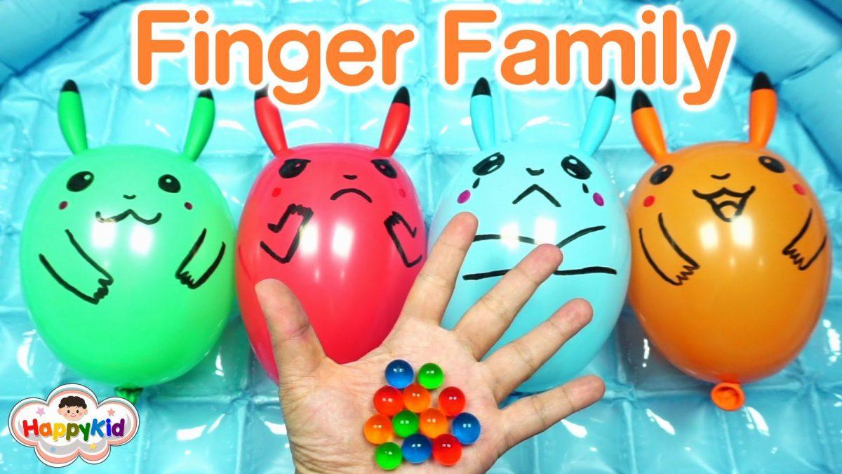 เพลง Finger Family #3 | เจาะลูกโป่งโปเกม่อน | ทำลูกโป่งปิกาจู | Learn Color With Pokemon Balloon