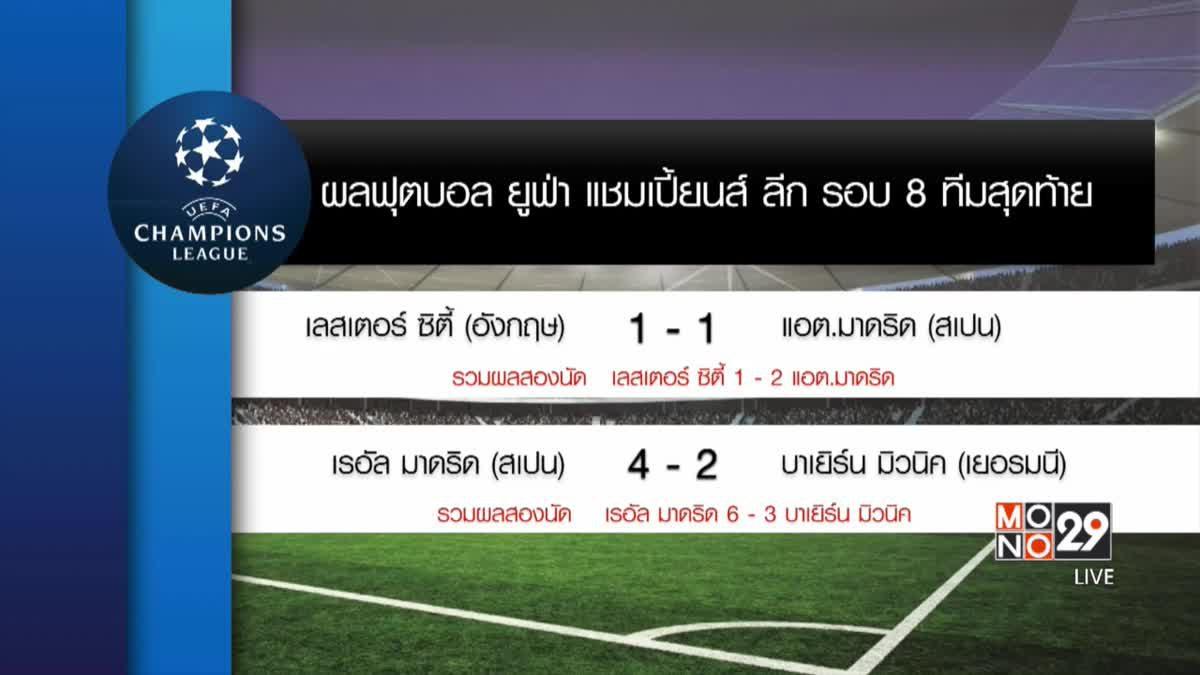 ผลฟุตบอล แชมเปี้ยนส์ ลีก 8 ทีมสุดท้ายนัด 2