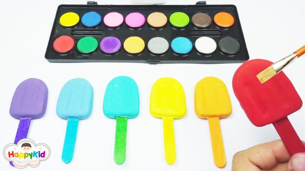 ระบายสีไอศครีมแป้งโดว์ | เรียนรู้สีภาษาอังกฤษ | Learn Color With Ice Cream Play Doh Painting