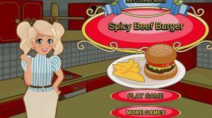 เกมส์ทำอาหาร เบอร์เกอร์เนื้อสไปซี่ Beef Burger