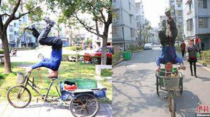 ลุงวัย 61 ฟิตและเฟิร์มมากๆ ตีลังกาปั่นจักรยานสามล้อ ทำได้ทีละ 400 เมตร