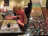 โต๊ะที่ตกแต่งด้วย ฝาขวดเบียร์ จากการเก็บสะสมกว่า 5 ปี!!!