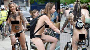 ผู้คนกว่าร้อยคนออกมา แก้ผ้าปั่นจักรยาน ฉลองงาน Naked Bike Ride