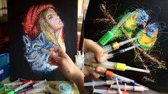 อาร์ตมาก! งานศิลปะ Inject Art ใช้เข็มฉีดยาแทนพู่กัน