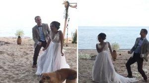 แชร์ว่อน! คลิปสุดฮา เปิดตัวคู่บ่าว-สาว เล่นใหญ่ ในงานแต่งริมทะเล