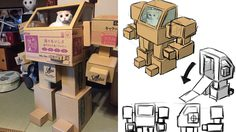 หุ่นยนต์บ้านแมวจากลังกระดาษ สุดล้ำ หนุ่มญี่ปุ่นทาสแมวใช้ไอเดียจากของใช้แล้ว