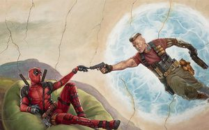 ปลายนิ้วสัมผัสปากกระบอกปืน(พก)!! Deadpool 2 ส่งภาพล้อเลียนงานจิตรกรรมฝาผนังชื่อดัง