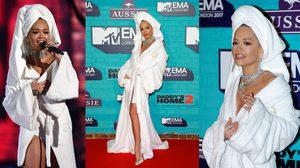 ตะลึงไปทั้งงาน Rita Ora ใส่ชุดคลุมอาบน้ำ เดินพรมแดง MTV ลอนดอน