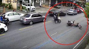 ตำรวจย้อนศร-บิ๊กไบค์วิ่งขวา ชนโครมกลางถนน โชคดีปลอดภัย