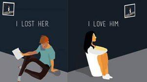 ภาพการ์ตูนเหตุการณ์ความรักที่หลายคนเป็น เมื่อต้องแยกทาง