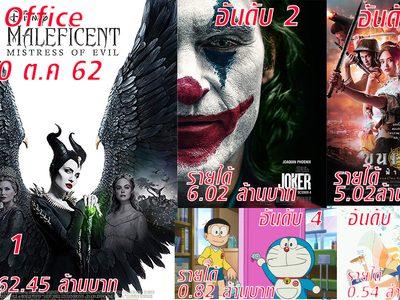 อันดับหนังทำเงินสูงสุดในไทย รายได้ประจำสัปดาห์ 17-20 ตุลาคม 62