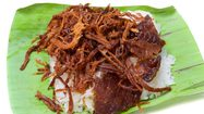Shredded pork with sticky rice isolated on white background